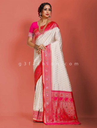 Traditional wear white art banarasi silk saree