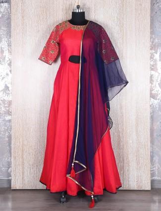 Traditonal red raw silk anarkali suit