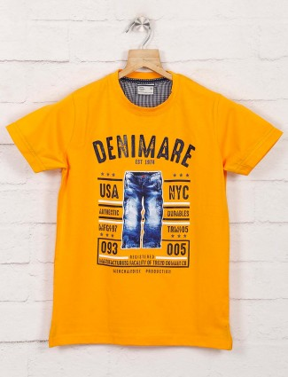 Trend Domain yellow round neck t-shirt