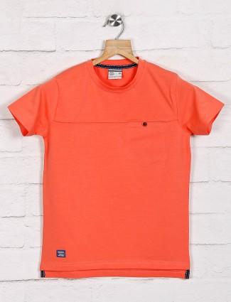 Trend round neck solid peach t-shirt