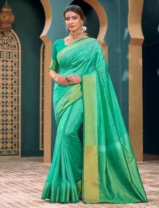 Trending green cotton silk sare for festivals
