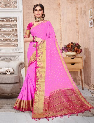 Trending Pink Cotton silk saree for festivals