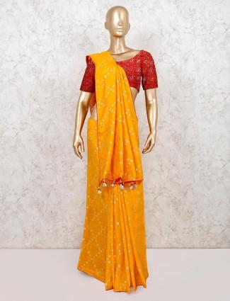 Trending yellow designer cotton silk saree