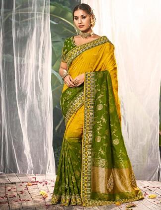 Trendy gold silk saree for wedding function