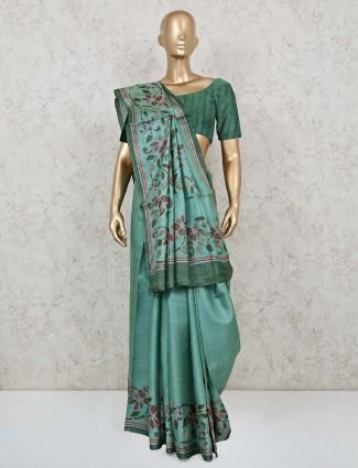 Trendy green handloom cotton saree with matching pallu