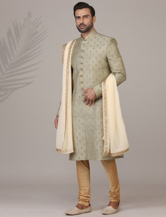 Trendy olive raw silk sherwani set