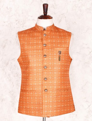 Trendy orange printed waistcoat in cotton silk