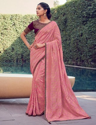 Trendy pink cotton silk saree for an festive occasion