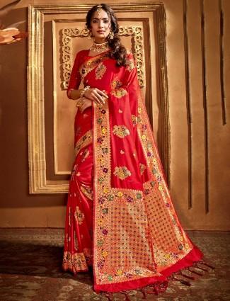 Trendy red banarasi silk saree