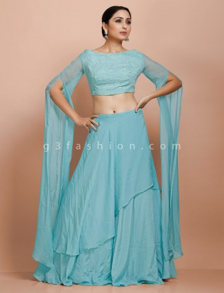 Trendy sky blue lehenga and blouse set for festive in tissue silk