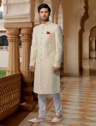 Trendy terry rayon embroidered sherwani