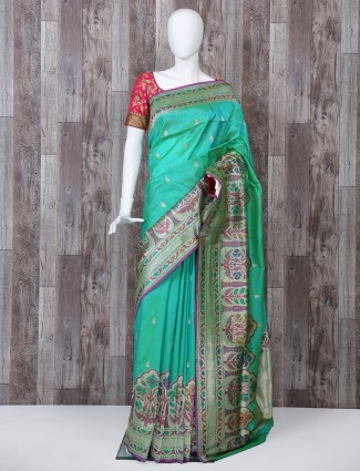 Turquoise green pure banarasi silk saree