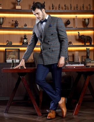 Tweed checks dark grey terry rayon tuxedo jecket