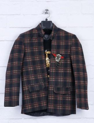 Tweed pattern black party wear blazer