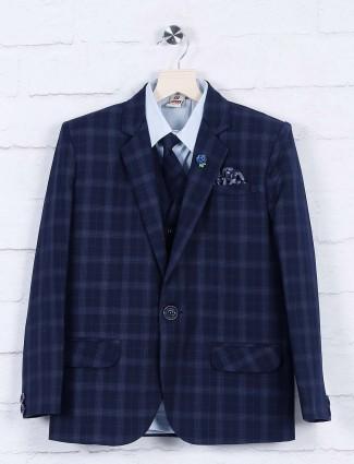 Tweed pattern blue hued boys coat suit