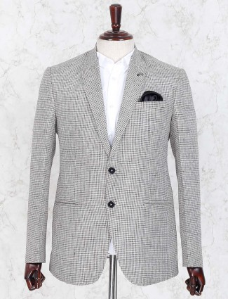 Tweed pattern cream color party blazer