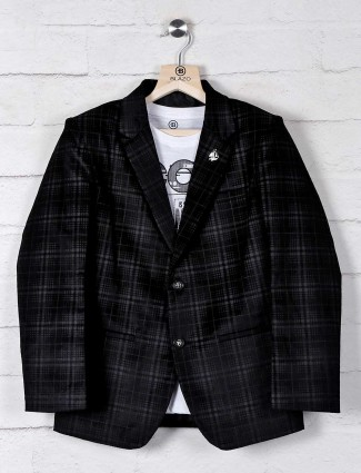 Tweed style terry rayon black blazer