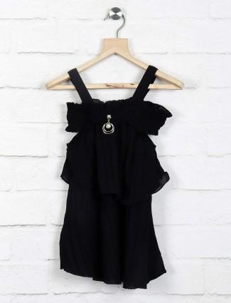 Twisty black color cotton casual top