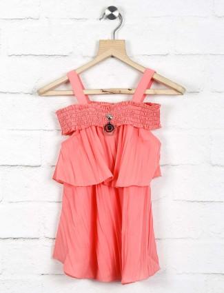 Twisty peach hue cotton casual top