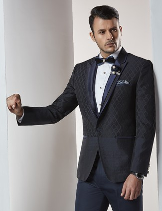 Two piece navy tuxedo coat suit for mens