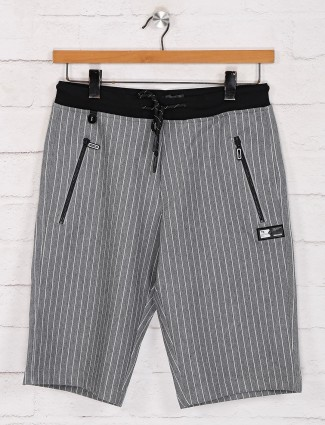 TYZ grey slim fit stripe shorts