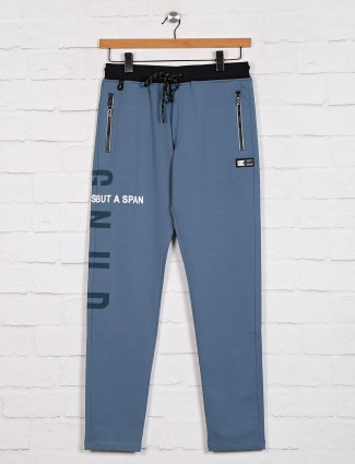 TYZ solid blue cotton track pant