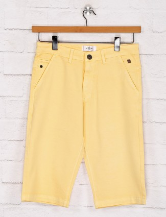 TYZ solid yellow casual wear shorts