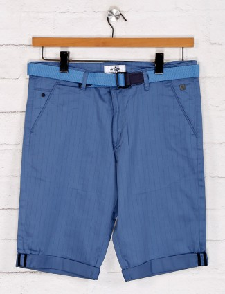 TYZ stripe blue cotton slim fit shorts