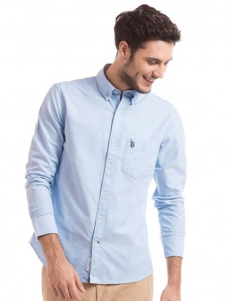 U.S.Polo plain light blue cotton shirt