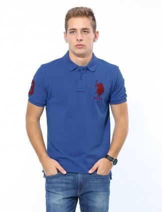 U.S.Polo Solid casual wear blue t-shirt