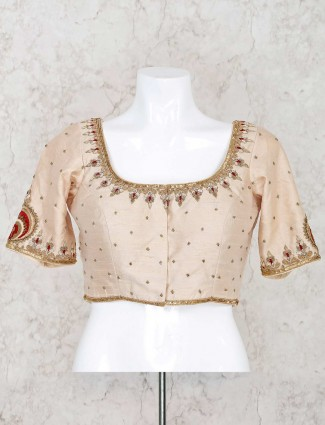 U neck beige raw silk ready made blouse