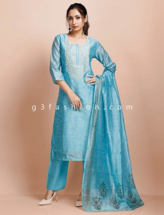 U neck cotton sky blue punjabi pant suit