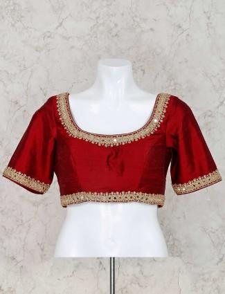 U neck raw silk maroon ready made blouse
