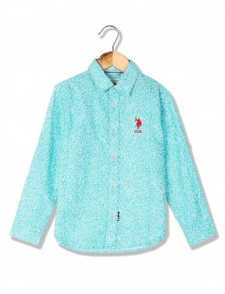 U S Polo aqua printed cotton shirt