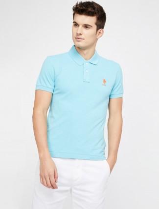 U S Polo aqua solid t-shirt