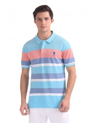 U S Polo Assn aqua stripe mens t-shirt