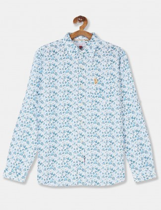 U S Polo Assn boys sky blue printed shirt