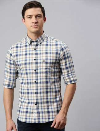 U S Polo Assn cream checks slim collar shirt