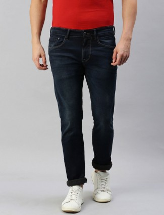 U S Polo Assn dark blue washed slim fit jeans