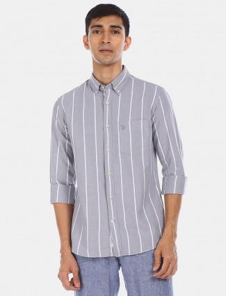 U S Polo Assn grey stripe shirt