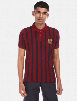 U S Polo Assn maroon casual stripe t-shirt
