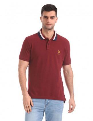 U S Polo Assn maroon color simple t-shirt