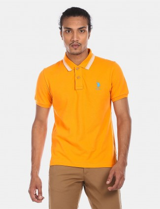 U S Polo Assn mustard yellow solid polo t-shirt