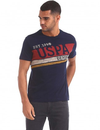 U S Polo Assn navy printed casual t-shirt