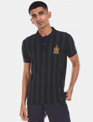 U S Polo Assn navy slim fit stripe t-shirt