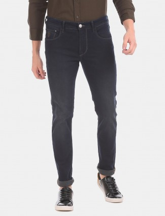 U S Polo Assn navy solid skinny fit jeans for mens