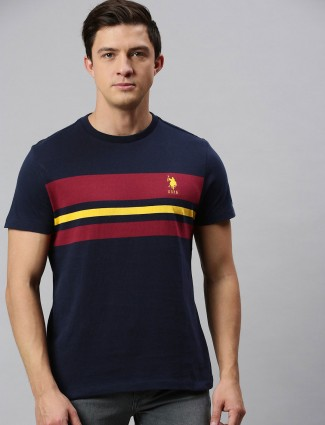 U S Polo Assn navy stripe t-shirt