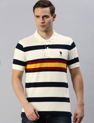 U S Polo Assn off white stripe polo t-shirt