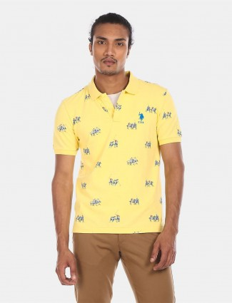U S Polo Assn printed yellow men polo t-shirt