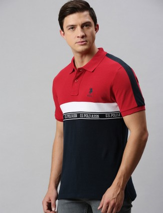 U S Polo Assn red and navy stripe t-shirt
